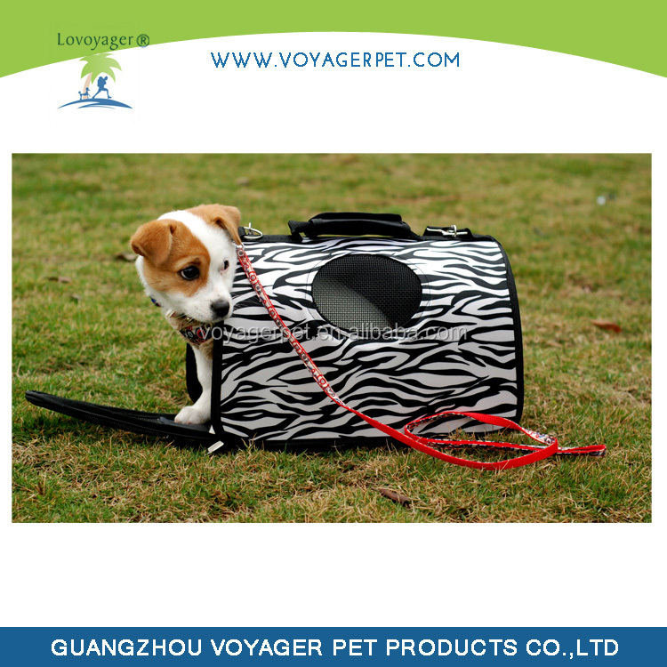 Loyager Expandable Zebra-stripe Large EVA Foldable Pet Dog Carrier Plastic Tote Carrier