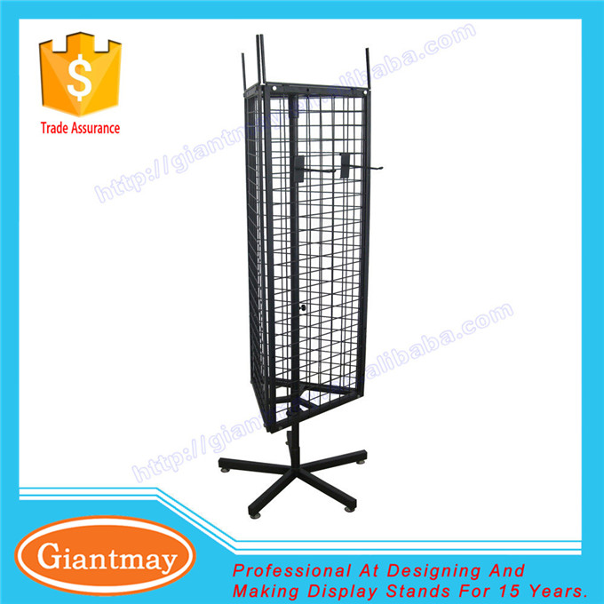 3 sided triangle floor standing grid hooks hanging metal rotating display wire stand racks