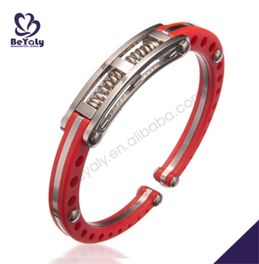 Happy red tone flexible stainless steel samoan bracelet