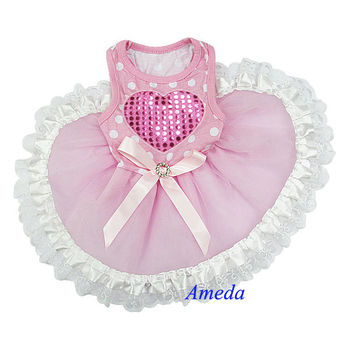 NEW Light Pink Polka Dots White Lace Heart Tutu Pets Dogs Clothes Party Dress XS-L