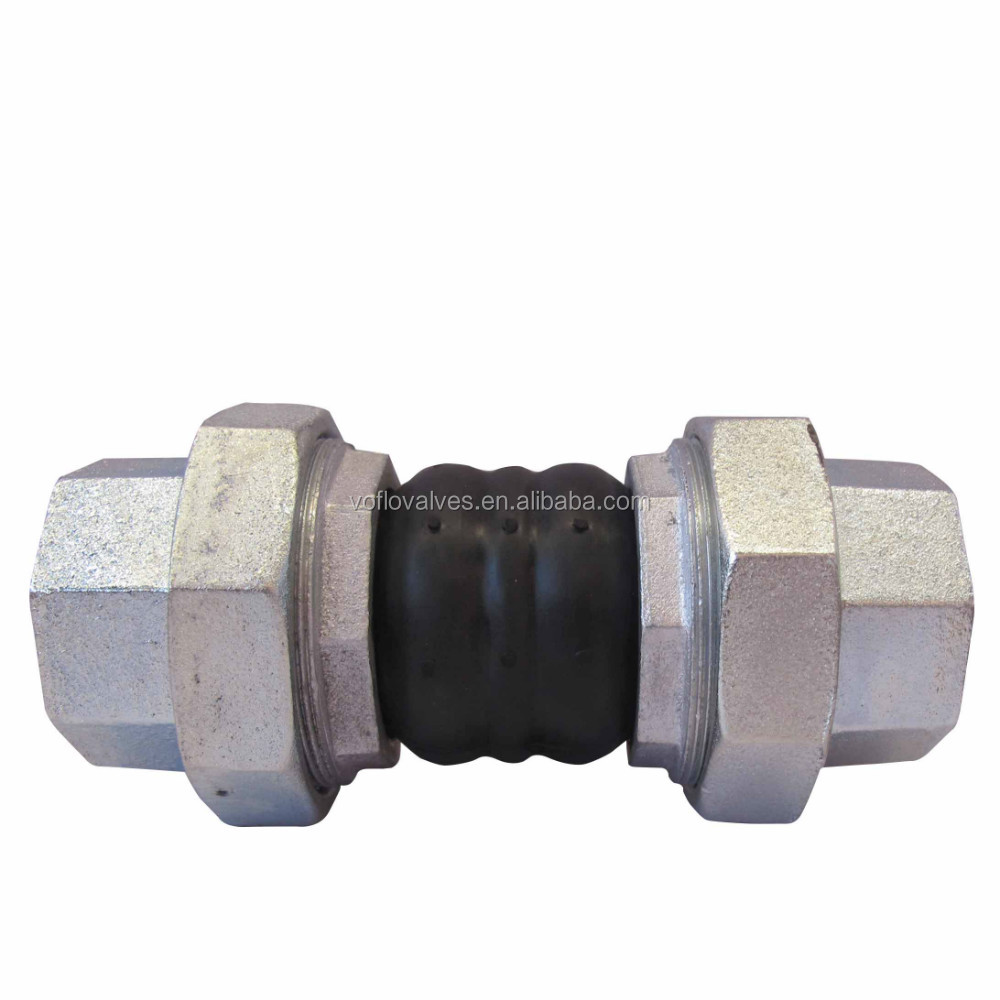 Threaded Rubber Piping Expansion Joints with two balls iron unions