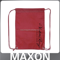 China manufacturer offer beautiful polyester drawstring sport bag with zip pocket for school