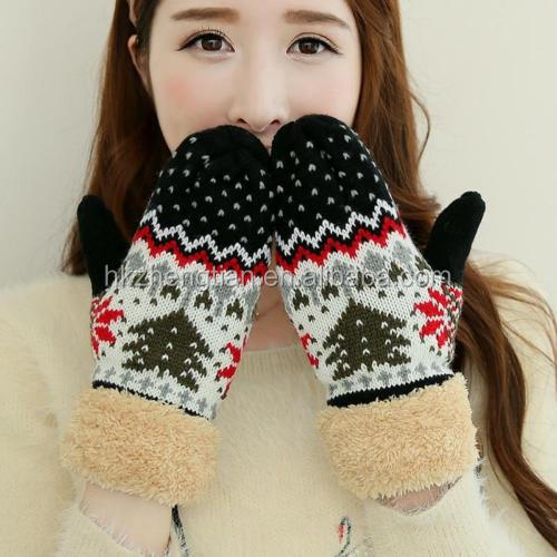 Ecoparty Winter Gloves Mittens Women Warm Thickened Knitting Christmas Tree Glove Fashion