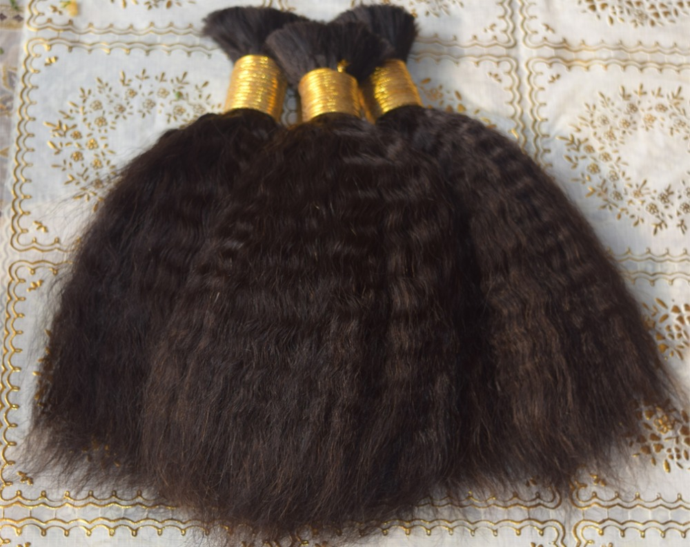 Hair Bulk For Braiding 9A Natural color Cheap High Quality Unprocessed Brazilian Virgin Human Remy Straight Curly