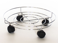 Metal wire plant pot stand with wheel