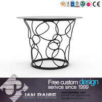 Houseware dining room furniture round glass dining table design,metal dining table