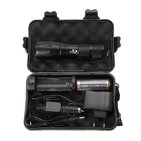High Powerful XM-L T6 LED Zoomable G700 Flashlight Torch with 18650 Battery and Charger Flashlight Gift Box