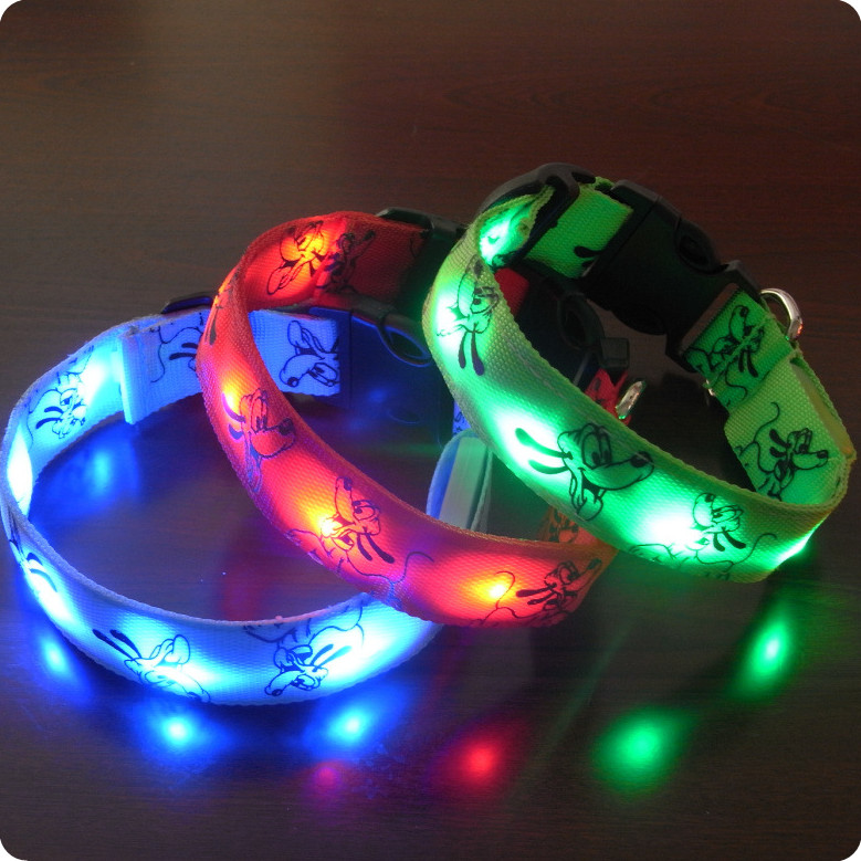 led dog collar color light, pet accessories
