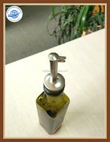 Oil Vinegar Cruet, Square Tall Glass Bottle With Stainless Steel Pourer Spout