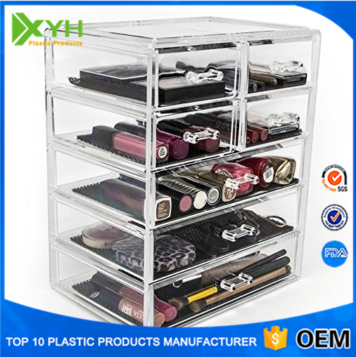 Acrylic Jewelry Makeup Cosmetic Organizer Case Box Storage Display Clear Drawers