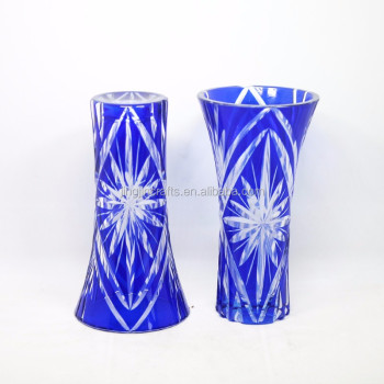 Japanese Crafts Sakura Cut Blue Glass Flower Vase Wholesale