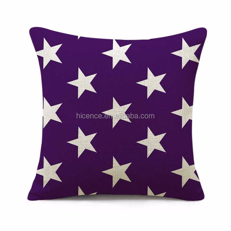 Washable Stars Style Digital Printed 55*55CM Large Linen and Cotton Cushion Pillow Case