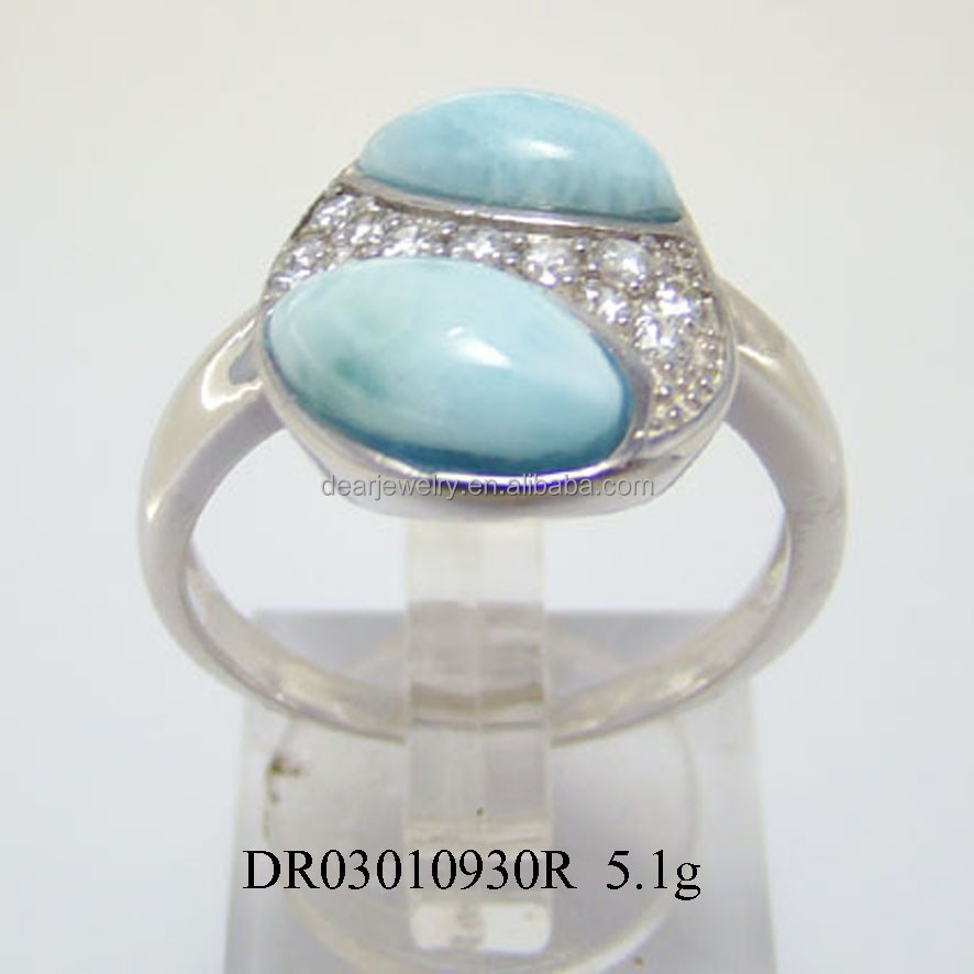 New Arrival High Quality 925 Sterling Silver Larimar Rings Jewelry
