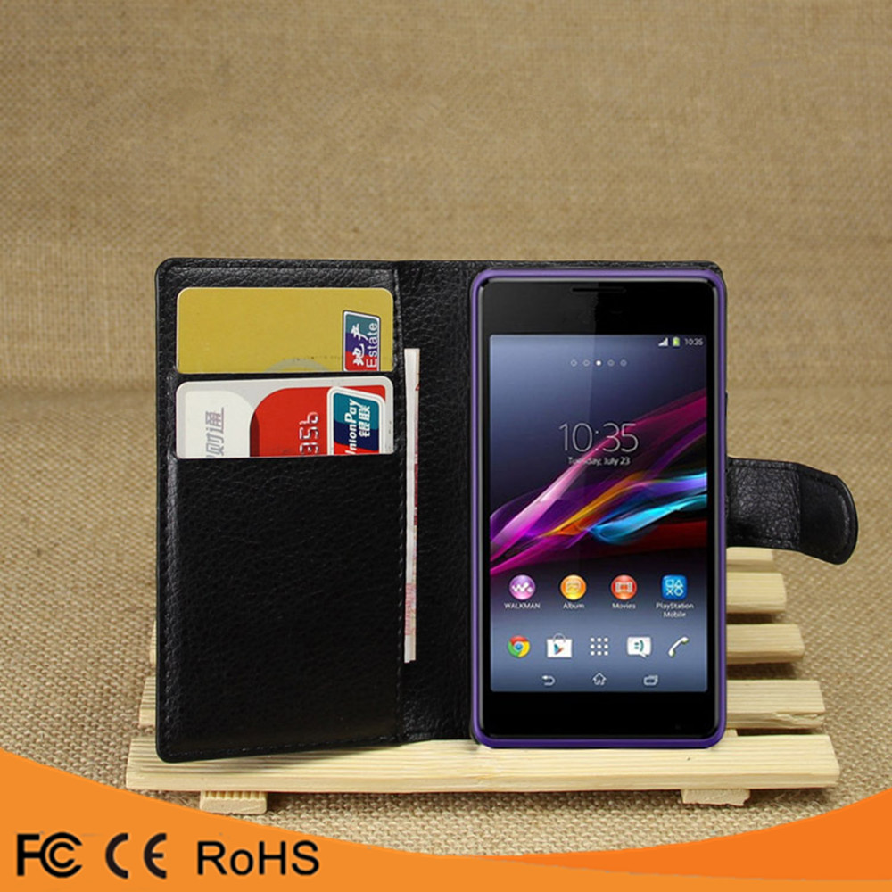 High quality leather flip PU case cover case For Sony Xperia E1