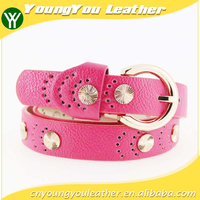 2015 Women's fashion pu studded beads belt for jeans with metal beads in yiwu