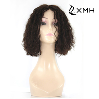 100 Human Hair 12inch 2# 130% Density Indian Non-Remy Deep Curl Lace Front Wig