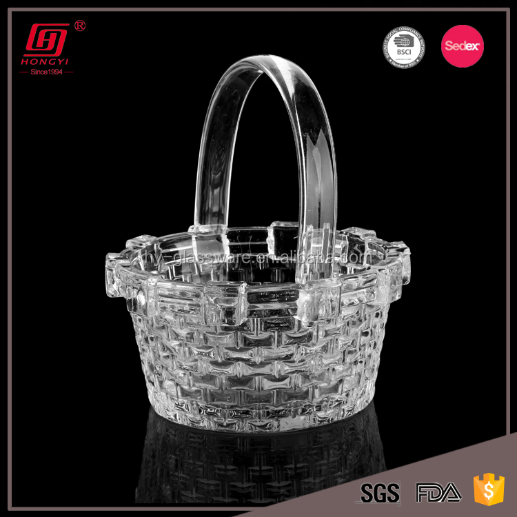 New products lead free clear glass dry fruit decoration tray/glass fruit plate with basket design
