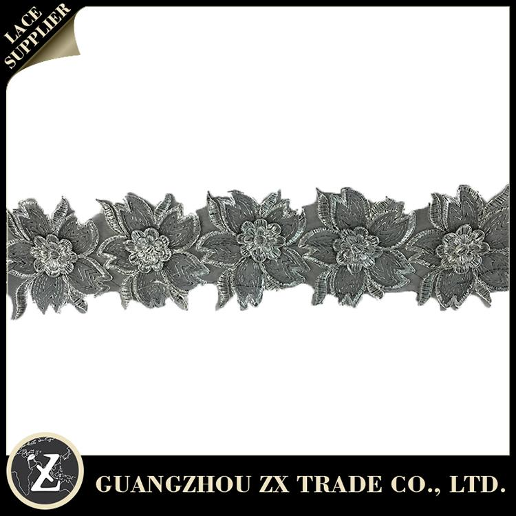 Hot selling cotton lace collar for dress, black-white polyester lace, nigeria party dress lace