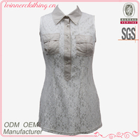 New design contrast color elegant lace tops blouses for lady