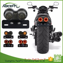 LED Twin Dual Turn Signal Brake License Plate Integrated Motorbike Tail Light for Bobber Cafe Racer ATV Chopper