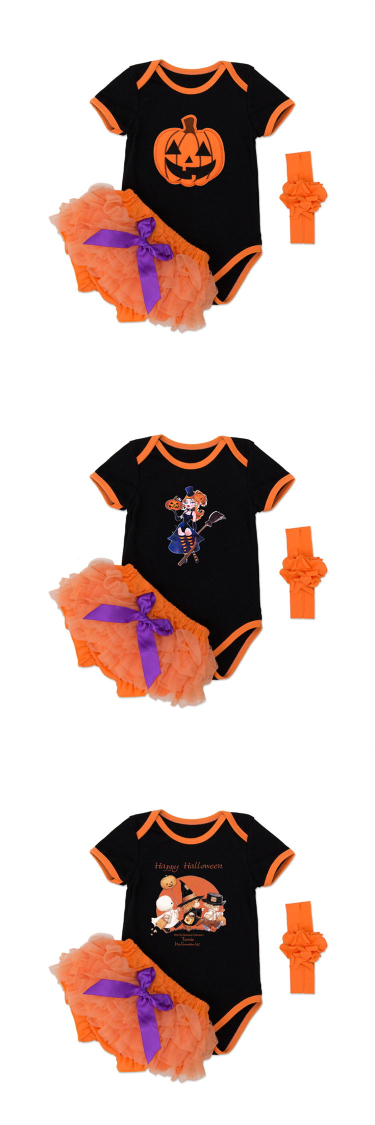 Newborn Baby Girl Halloween Costumes Pumpkin Short Sleeve Bodysuit Romper Clothing Sets With Tulle Under Pants
