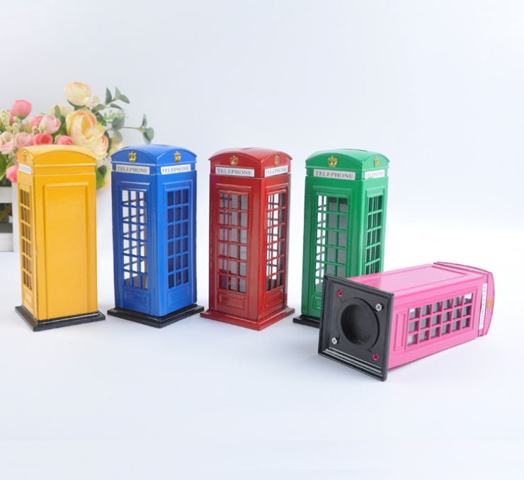 Telephone booth call box shape money box piggy bank saving box