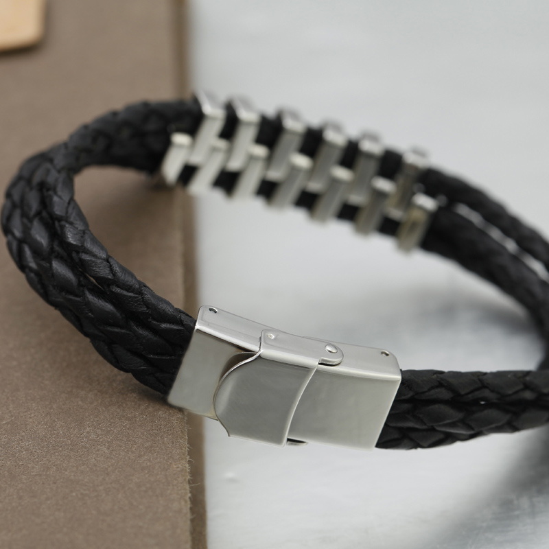 black 20cm long stainless steel leather bracelet with special design