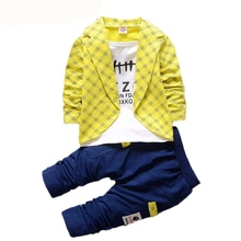 Toddler Baby Boy Formal Clothing Wear Fashion Set 2017 Newest Yellow Boys Clothes 2PCS Children's Infant Clothings