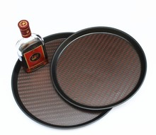 Hot Sale Good Design round PU Leather Serving Tray