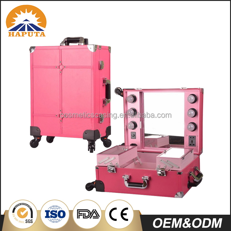 High quality Professional Aluminum Makeup Trolley Case with lights