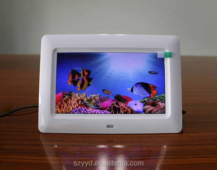 Shenzhen factory directly supply 7 inch picture photo frame HD blue picture video