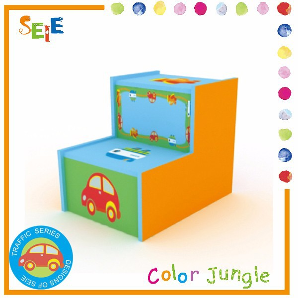 Wooden cartoon toy storage stool,storage box step stool combo,OEM available