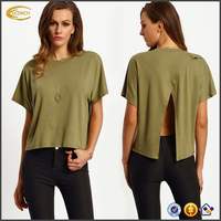 Ecoach wholesale women's short sleeve Green plain no brand Crew Neck Wrap Open Back T-Shirt