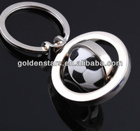 Newes Creactive World Cup gifts 2014 Custom 3D Rotating Football Keychain Metal Promotion