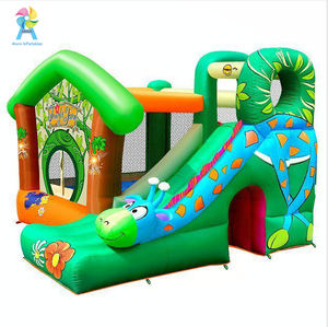 Cheap price Happy Hop Jungle Fun Inflatable bouncy castle with slide inflatable bouncer trampoline with slide for sale