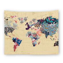 Floral World Map Tapestry Headboard Wall Art Tapestry wall hanging