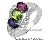 925 Sterling Silver Multi-gemstone Ring wholesale stretch big size ring base