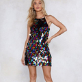 Women Party Sexy Sequin Dress Night Club Bodycon Mini Dress Hot Sale