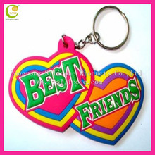 2012 hot selling best-friends design silicone rubber engraved couple heart keychain