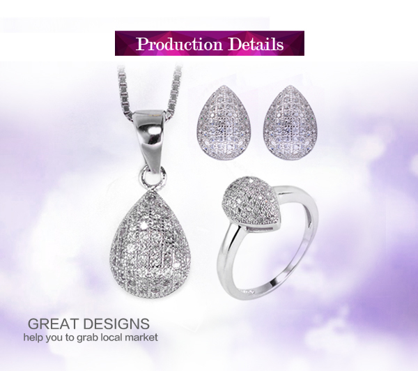 Trendy rhodium plated shine cz stones 925 sterling silver fashion jewelry mexico