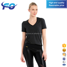 Wholesale Custom Blank Comfortable Fit Dry Mesh Women Black Tee Shirt