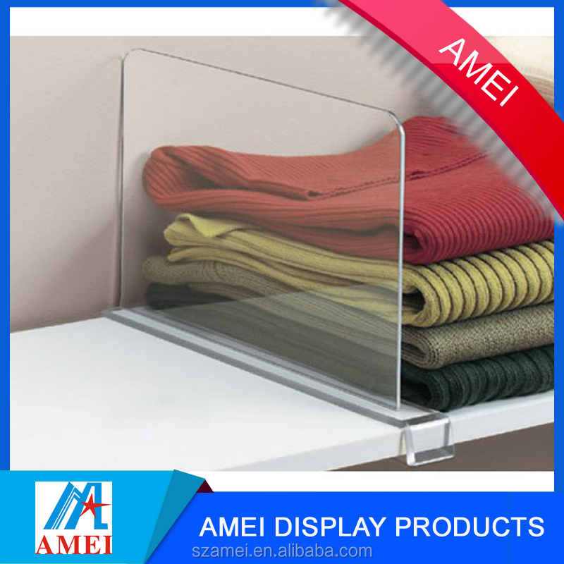 2017 wholesale durable clear acrylic shelf divider for store