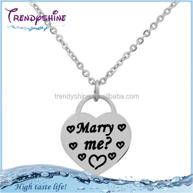 Women's silver stainless steel custom printed glowing heart necklace