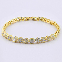 micro pave cubic zircon gold plated link bracelet for women