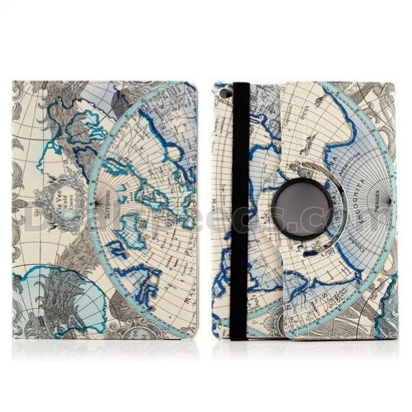 New Design Map Pattern Leather Skin Cases for iPad Air 2