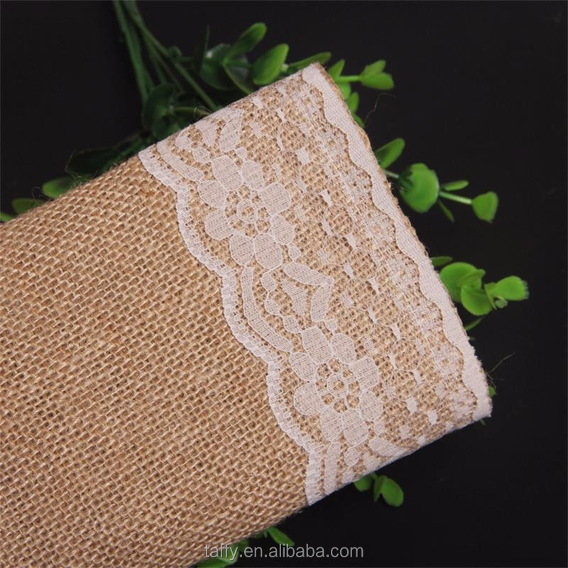 vintage rustic cheap elegant Jute Country Outdoor Wedding Party Decor Burlap Lace Hessian Table Runner