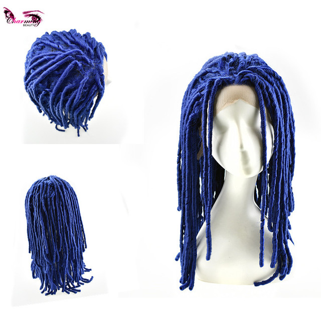 Ali baba express Afro wave synthetic kinky twist dreadlocks braided lace front wigs for black women