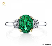 Fashion Design Sterling Silver Emerald Three Stone Ring 925 Silver Jewelry