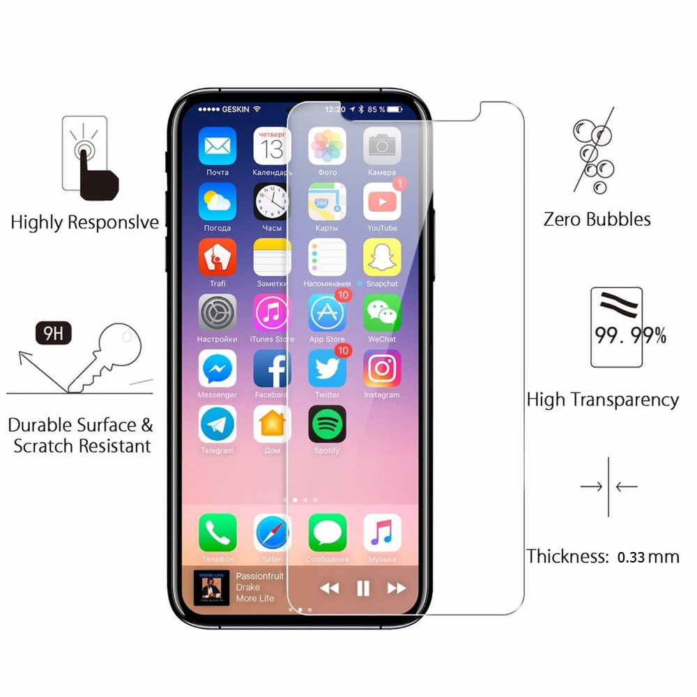 9H 2.5D 0.33mm mobile phone tempered glass screen protector for iphone X