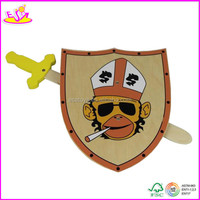 Best quality wooden toy wooden sword for kids,popular wooden sword shield toy for children W01B004-A2